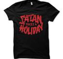 SATAN TAKES A HOLIDAY - T-SHIRT, RED LOGO