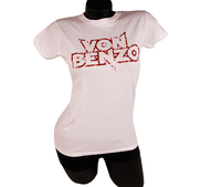 VON BENZO - LADY T-SHIRT, TRASHED LOGO (WHITE)